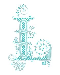 Hand drawn monogrammed print, 8x10, the Letter L, in the color blue. $15.00, via Etsy.