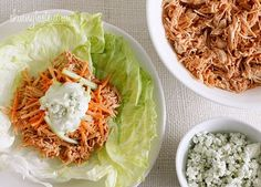 Crock Pot Buffalo Chicken Lettuce Wraps from Skinnytaste. This essentially made 2 meals for me, I used cups for lettuce wraps & the other cups to make a healthy buffalo mac & cheese that I also pinned. Slow Cooker Recipes, Crockpot Recipes, Cooking Recipes, Healthy Recipes, Skinny Recipes, Chicken Recipes, Protein Recipes, Vegetarian Recipes, Great Recipes