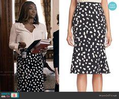 Daisy's polka dot skirt on Madam Secretary.  Outfit Details: https://wornontv.net/61201/ #MadamSecretary