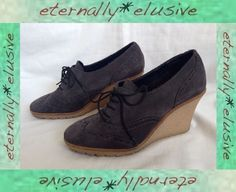 SCHUH Brown 'SANDI BROGUE' Suede Leather High Wedge Shoes Women Ladies Size 4 37  9.50 +FPP