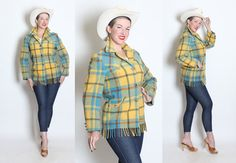 GORGEOUS 1950's Robins Egg Blue and Yellow Wool by butchwaxvintage