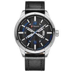 Sale 19% (11.99$) - CURREN 8211 Fashion Men Quartz Watch Casual Leather Strap Date Display Sports Watch