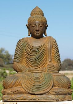 "View the Stone Meditating Buddha Garden Statue 32"""