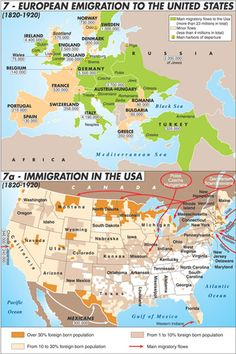 Map of European Immigration to the United States