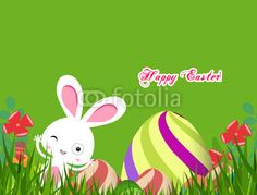green easter eggs and bunny background