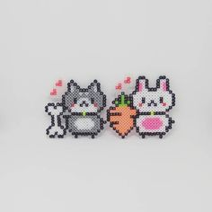 Kawaii doggie and bunny with their bone & carrot. *credits: designs from weibo 晚炀* #perlers #perlerbeadmaker #perler #perlerbead #perlerbeads #perlerart #perlerbeadart #minibeads #miniperler #hamabeads #handmade #hamaperler #fusebeads #meltybeads #ironbeads #拼豆 #拼豆豆 #拼拼豆豆 #手作