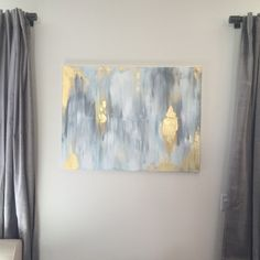Original hand painted abstract in acrylic on 30x40 canvas Colors : whites, gold, blues, greys, metallic gold leafing (faux) By Katie Brown