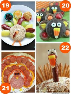 Turkey Fruit and Cheese Plate, Chocolate Covered OREO Turkey, Turkey Pizza, Turkey Cheeseball plus 31 Days of Thanksgiving Kids Food Craft Ideas on Frugal Coupon Living.