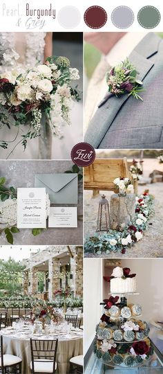 pearl white,grey and burgundy neutral wedding colors ideas