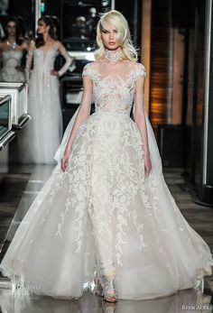 reem acra spring 2018 bridal cap sleeves scoop neckline full embellishment glamorous princess ball gown wedding dress lace back chapel train (19couture) mv -- Reem Acra Spring 2018 Wedding Dresses