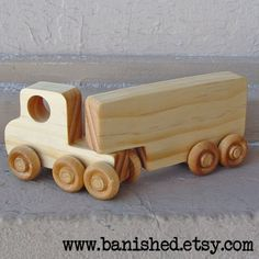 wooden semi truck push toy