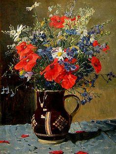 Alexander Demetrius Goltz  Bouquet of Field Flowers  Late 19th century  Via: Still life Quick heart