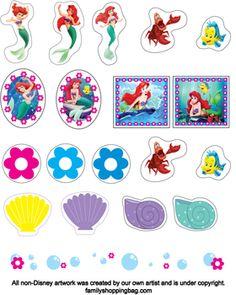 Stickers Little Mermaid, Little Mermaid, Stickers - Free Printable Ideas from Family Shoppingbag.com