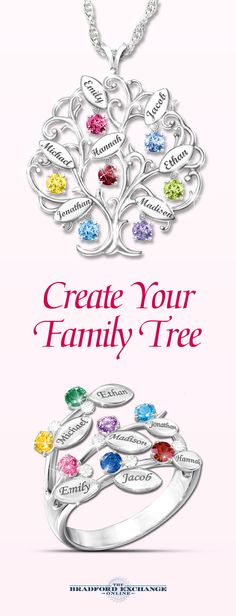 Celebrate your family tree with these fine jewelry gifts (perfect for Mother's Day). Which one best symbolizes your family: the pendant or the ring? Both are Bradford Exchange exclusives and backed by the best guarantee in the business. Free personalization. Hurry to get it to Mom on time!