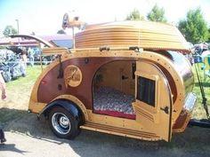 Teardrop camper travel trailer / love the boat Teardrop Camping, Teardrop Camper Trailer, Tiny Camper, Small Campers, Camper Caravan, Cool Campers, Tiny Trailers, Small Trailer, Vintage Trailers