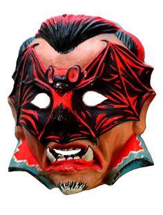 Vampire with bat on face - vintage retro plastic Halloween mask Boxing Halloween Costume, Scary Halloween Masks, Halloween Items, Spirit Halloween, Fall Halloween, Retro Halloween, Monster Mask, Monster Toys, Vintage Halloween Photos