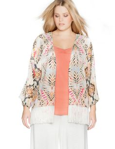 Mat Fringed printed kimono jacket in Cream / Orange