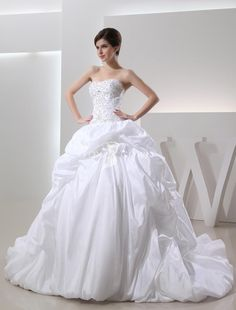 strapless beaded embroidery bodice pick up flower bubble skirt ball gown wedding dress