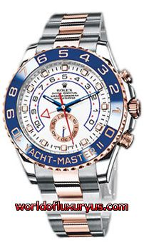 116681 - Rolex Yacht-Master II, polished round steel case w shoulders to protect screw-down Triplock winding crown, steel and 18kt pink gold Oysterlock bracelet, 18kt pink gold bezel w Cerachrom blue ceramic insert, white dial w red/blue markings, 10 minute regatta timer, 42 jewel Caliber 4160 self-winding Oyster Perpetual chronometer movement, sapphire crystal, water-resistant to 100m. http://www.worldofluxuryus.com/watches/Rolex/Yacht-Master-II/116681/641_756_4471.php#sthash.2ndKw2TP.dpuf