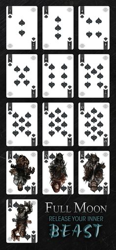 Meet the Full Moon Werewolf deck!  The WORLDS first lenticular lens motion tuck!  Watch the transformation happen in your hands!
