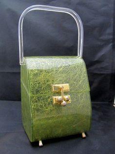 Vintage MYLES MIAMI LUCITE CONFETTI GREEN PURSE HANDBAG Rare
