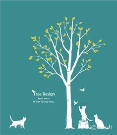 #tree #design #illustration #cat #birds #green #spring #stockimage #npine #iclickart