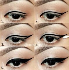 The eyeliner is a universal cosmetic means that is actual for a long time for any kind of makeup. Amazing Hacks For Perfect Winged Eyeliner Step By Step Eyeliner, Winged Eyeliner Tutorial, Makeup Step By Step, Winged Liner, Cat Eye Tutorial, Eyeliner Make-up, Eyeliner Hacks, How To Apply Eyeliner, Makeup Ideas
