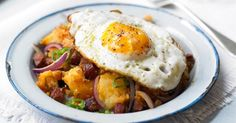 Spicy Chorizo Potatoes With Fried Eggs Recipe Side Dishes with potatoes, olive oil, purple onion, green chilies, chorizo, smoked paprika, eggs
