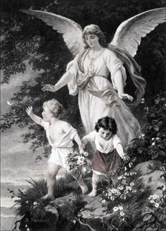 The Guardian Angel PHOTOENGRAVING ORIGINAL, Bernhard Plockhorst (1825 – 1907) IMAGE SIZE: 35 X 25