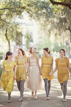 Mismatched yellow bridesmaids dresses and a tea length wedding dress. So pretty Mismatched Bridesmaid Dresses, Bridesmaid Flowers, Brides And Bridesmaids, Yellow Wedding, Dream Wedding, Tea Length Wedding Dress, Wedding Dresses, Wedding In The Woods, Mellow Yellow