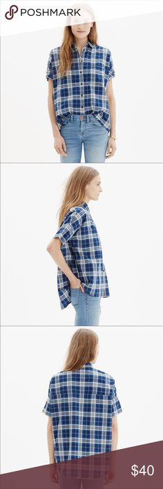 "Madewell Courier Shirt in Blue Plaid Super cool but classic Madewell Courier Button Up Shirt in Blue Plaid. Slightly oversized and boxy but so easy to wear. Versatile and comfy cotton short sleeve top. Size XS chest measures: 23"" flat. Worn once Madewell Tops Button Down Shirts"