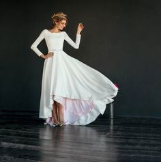 MAKANI // High low skirt modest wedding dress, crepe bodice with long narrow sleeves, A line skirt, skirt color lining, scoop back, simple