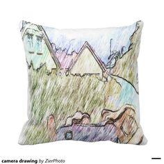 camera drawing pillow