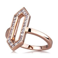 Sethi Couture's Hexagon ring in 18k rose gold with 0.54 ct. t.w. princess-cut diamonds, $2,815