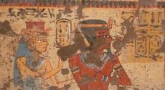 Ahmose-Nefertari and Amunhotep I receiving offerings from the deceased ...