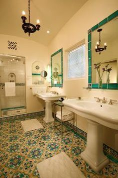 Biltmore Montecito -  like how the mirror is framed by the tile, maybe black?
