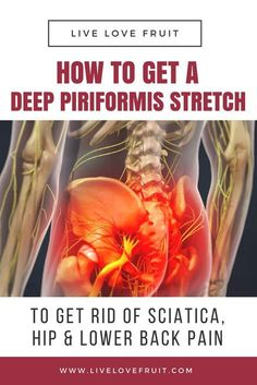 How To Get A Deep Piriformis Stretch To Get Rid of Sciatica, Hip & Lower Back Pain - Fitness Workouts Hip Pain Relief, Sciatica Pain Relief, Sciatic Pain, Lower Back Pain Relief, Low Back Pain, Fitness Workouts, Hip Workout, Fitness Tips, Fitness Games