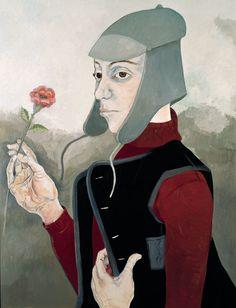 Nes Erdok - Woman with Flower Lucas Cranach, Pieter Bruegel The Elder, Hieronymus Bosch, Albrecht Durer, Contemporary Artists, Renaissance, Pastel, Portrait, Painting