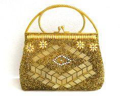 Vintage gold beaded bag with pearls bugle and seed by CardCurios
