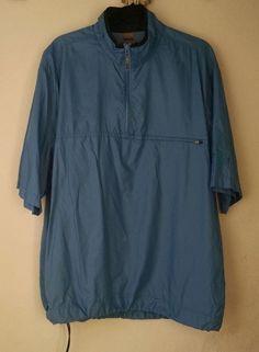 599062869 Ashworth Mens Short Sleeve Jacket L Blue 1 4 Zip Lightweight Nylon Byron  Nelson