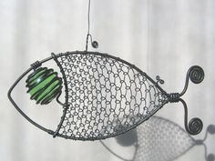 Green  Eyed Wire Fish Sculpture by MyWireArt on Etsy, $17.00