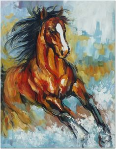 Signed Hand Painted Impressionistic Horse Oil Painting On Canvas - COA Included