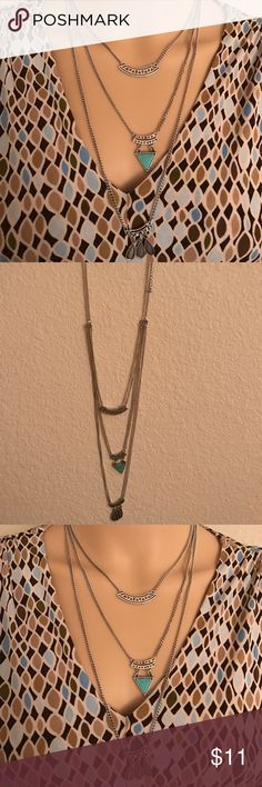 Stephan & co 3 row layering necklace Stephan & co 3 row layering necklace turquoise Stephan & CO Jewelry Necklaces