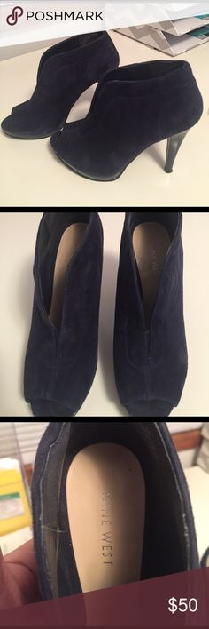 Nine West Navy Blue Suede shoes Worn only a handful of times, suede in good condition Nine West Shoes Ankle Boots & Booties