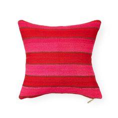 Frazada XXXV - Throw Pillow Guatemalan Textiles, Core Collection, Sheep Wool, Coral Pink, Furniture Decor, South America, Picnic Blanket, Weaving, Throw Pillows