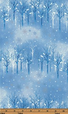 Blue Winter Trees - Snowflake Wonderland by Daiwabo - 100% Cotton Fabric by QuiltsOnTheFly on Etsy