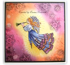 Christmas angel card, using chocolate baroque 'a child is born' stamp set, stampin up 'kinda eclectic' and tim holtz distress inks