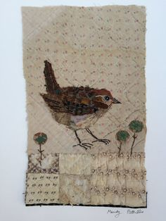 Unframed appliqued wren with embroidery on to от MandyPattullo