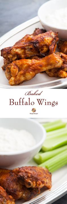 Baked buffalo wings! No need to deep fry these wings. Marinate them in a spicy sauce, then broil and serve with a tangy delicious blue cheese sauce. A real crowd pleaser! #SuperBowl #GameDay On SimplyRecipes.com