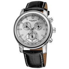 Akribos XXIV Coronis Men's Chronograph Quartz Leather Strap Watch